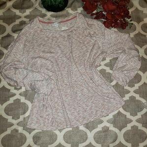 Vintage America Dusty Pink Ruffled Sweater Top